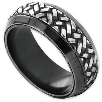 Edward Mirell Men's Black Titanium Ring-342371