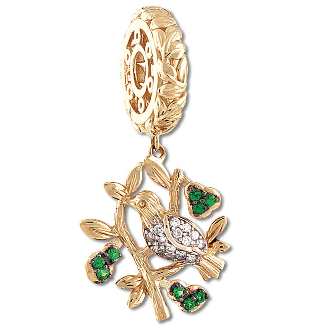 335560-Storywheels Partridge in a Pear Tree Dangle 14K Gold Wheel LIMITED EDITION ONLY 2 LEFT!