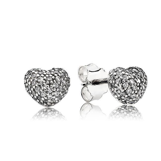 343520-PANDORA In My Heart with Clear CZ  Pavé Stud Earrings