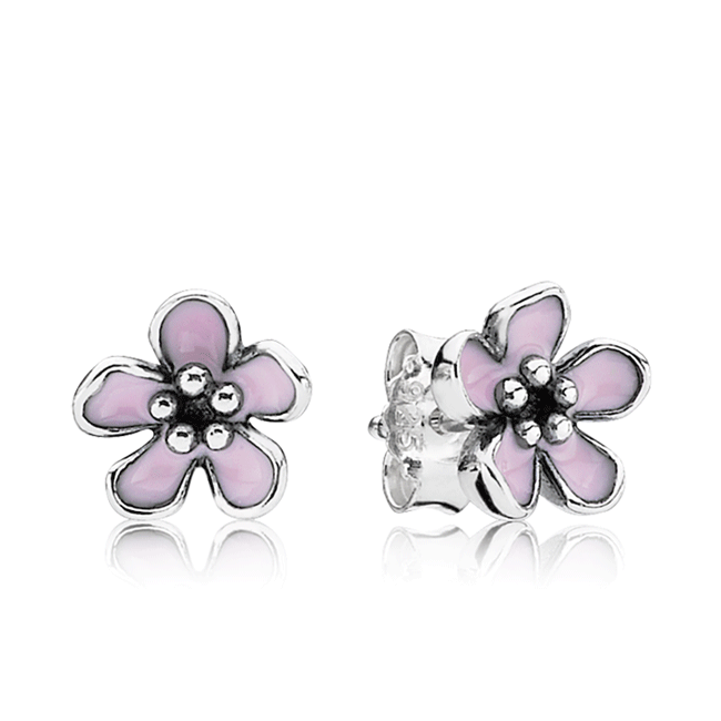 342981-PANDORA Cherry Blossom with Pink Enamel Stud Earrings