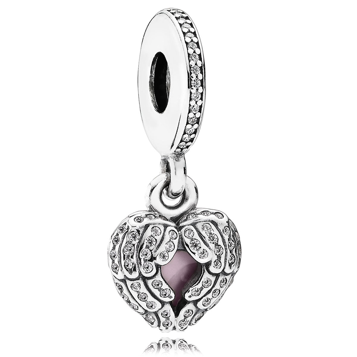 802-3086-PANDORA Angel Wings with Pink Enamel and Clear CZ Dangle *OUT OF STOCK*
