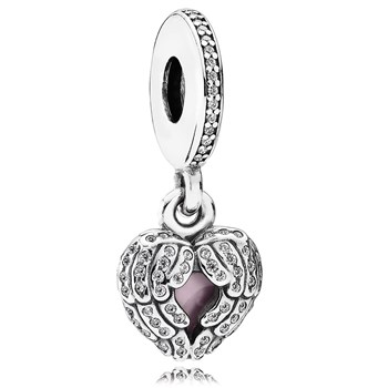 802-3086-PANDORA Angel Wings with Pink Enamel and Clear CZ Dangle