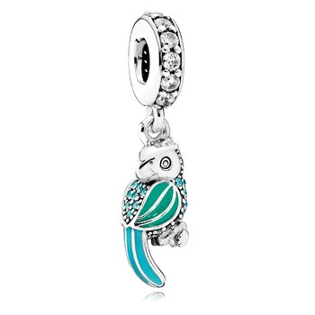 PANDORA Tropical Parrot with Enamel, Teal & Clear CZ Dangle