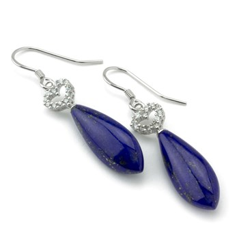 Lapis Heart Earrings-645-1059