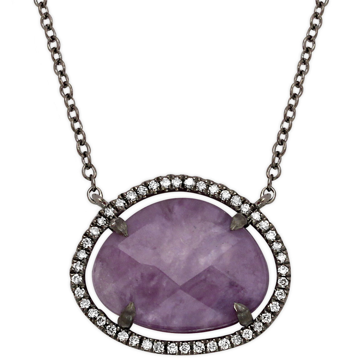 342300-Charoite and Diamond Necklace