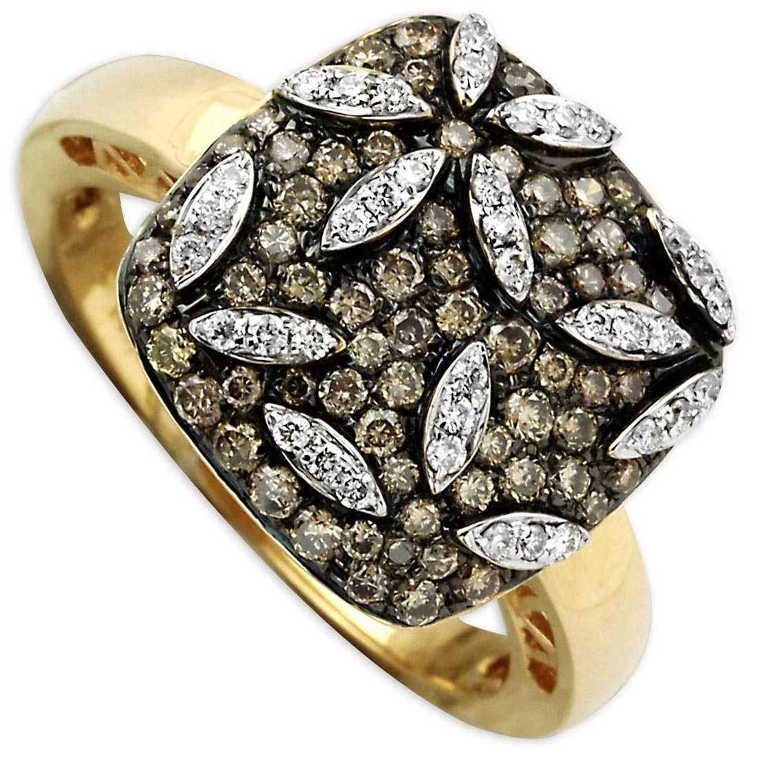 331319-Brown and White Diamond Flower Ring