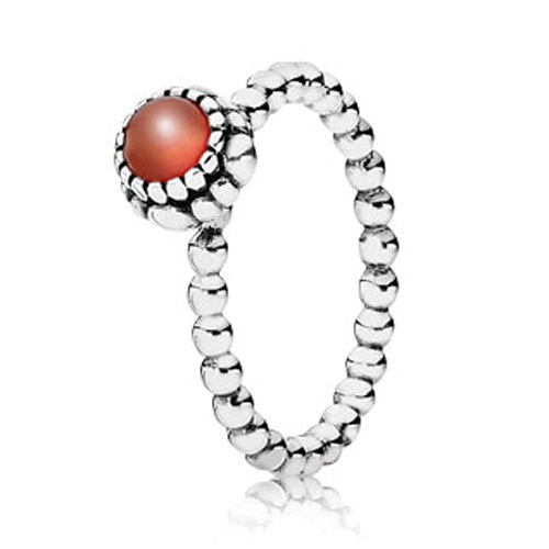 PANDORA Carnelian July Birthday Bloom Stackable Ring