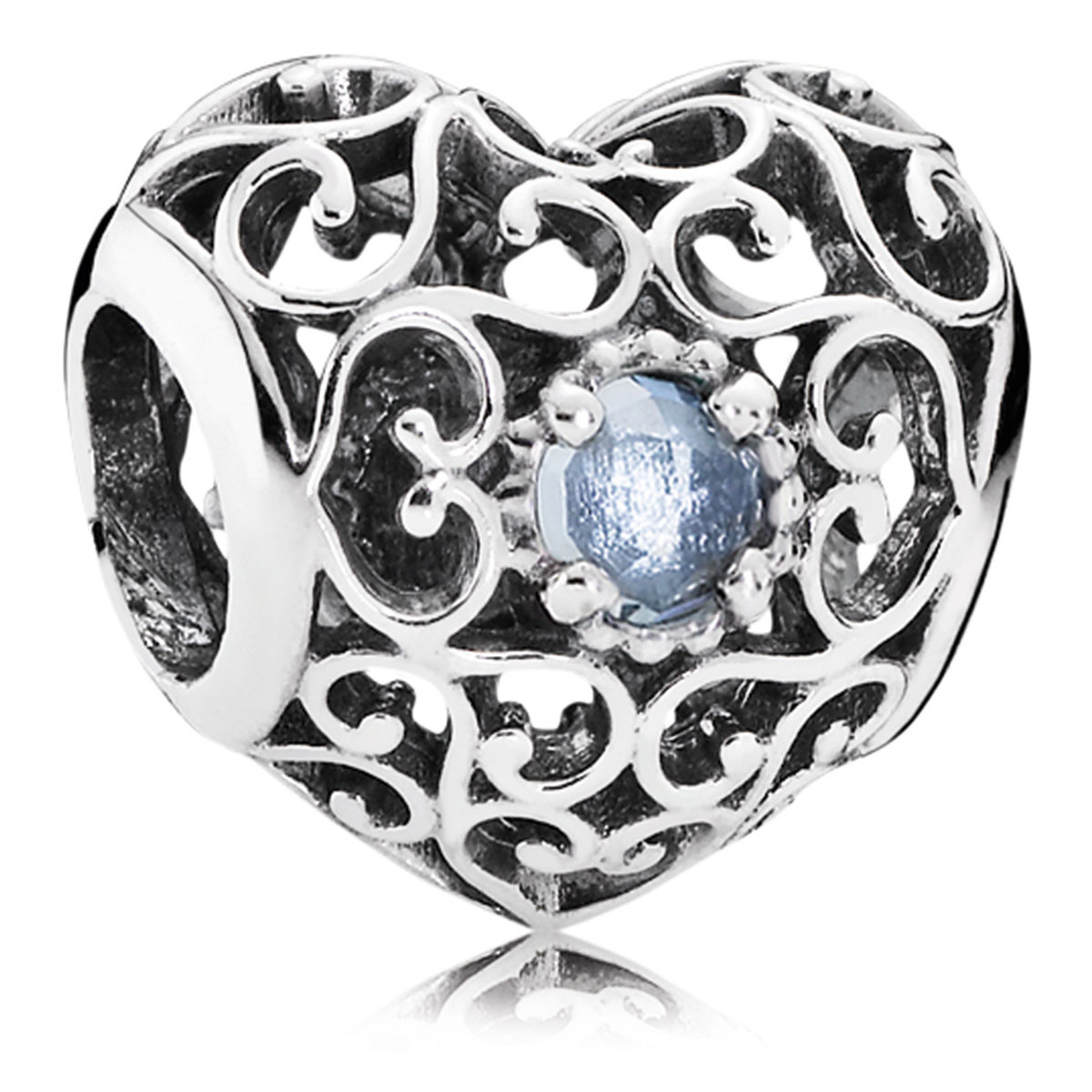 802-3102-PANDORA March Signature Heart with Aqua Blue Crystal Charm