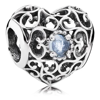 PANDORA March Signature Heart with Aqua Blue Crystal Charm-802-3102