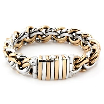 Silver and Bronze Interlocking Link Bracelet-342808