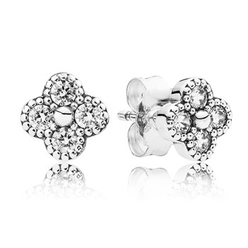 PANDORA Oriental Blossom Clear Earrings