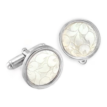 Carved Floral Pattern Cufflinks-332669