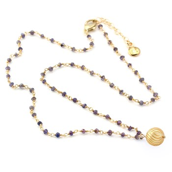 Golden Pearl & Iolite Necklace-348938