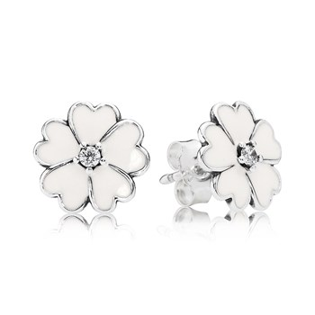 PANDORA Primrose with White Enamel Stud Earrings-804-381
