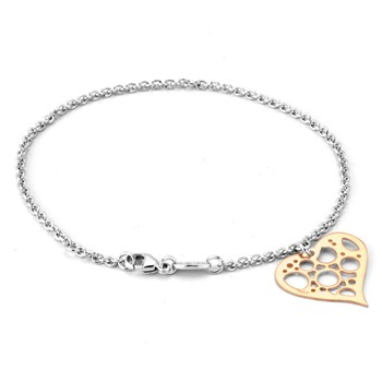 343269-Rose Rhodium Heart Bracelet ONLY 5 LEFT!