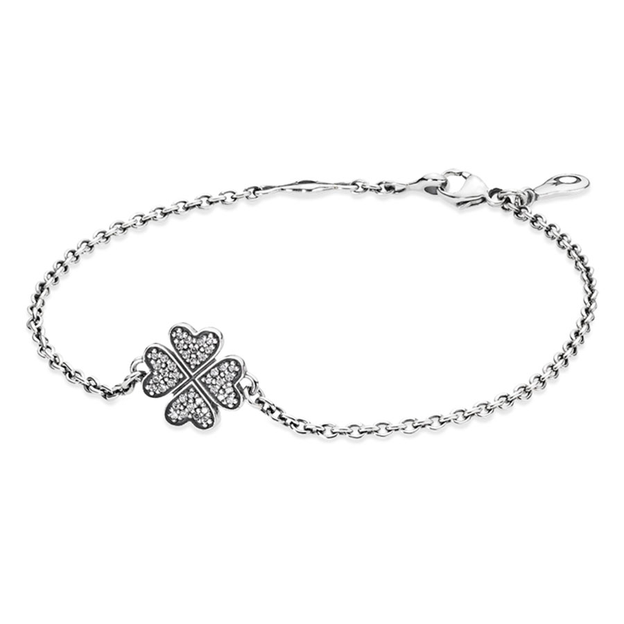 PANDORA Symbol of Lucky in Love Shamrock with Clear CZ Bracelet RETIRED ONLY 5 LEFT!