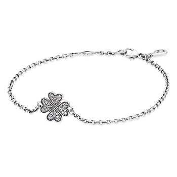 PANDORA Symbol of Lucky in Love Shamrock with Clear CZ Bracelet