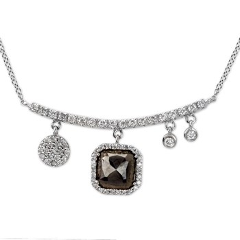 Asymetrical Raw Cut Diamond Necklace-338570