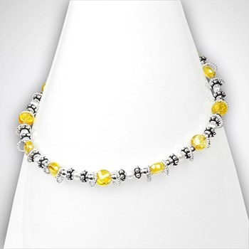 Freshwater Pearl & Yellow CZ Anklet-298285