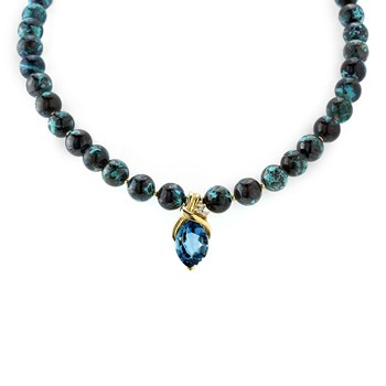 Chrysocolla & London Blue Topaz Necklace-235-459