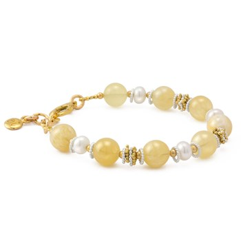 Honey Jade with Button Pearl Bracelet