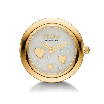 STORY by Kranz & Ziegler Gold-Plated Heart Sparkle Clock Button