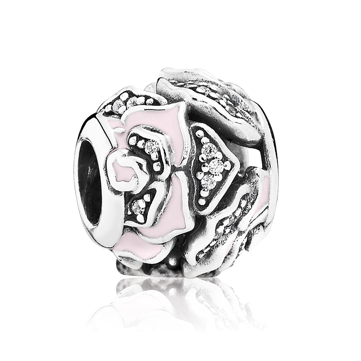 802-2950-PANDORA Delicate Rose with Clear CZ and Pink Enamel Charm