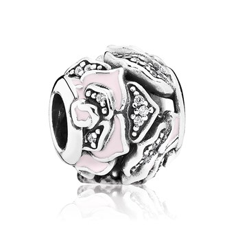 PANDORA Delicate Rose with Pink Enamel and Clear CZ Charm 802-2950 RETIRED