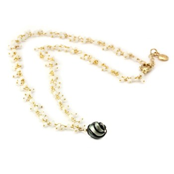 Black Pearl & Moonstone Necklace-347623