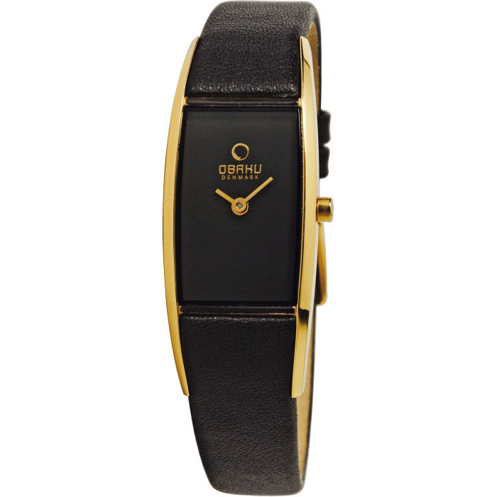 500-27-Obaku Women's Black Leather Watch