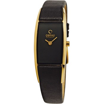 Women's Black Leather Watch-500-27