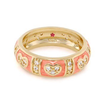 Coral 'Pave Love' Ring