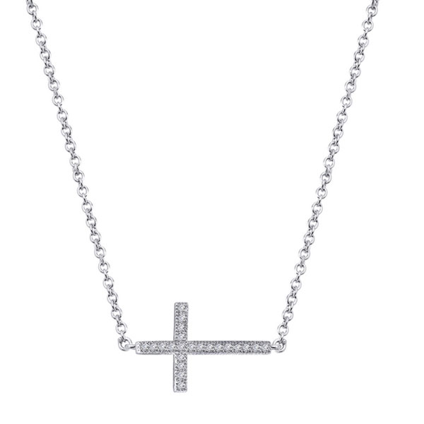 342425-Sterling Silver Cross Necklace