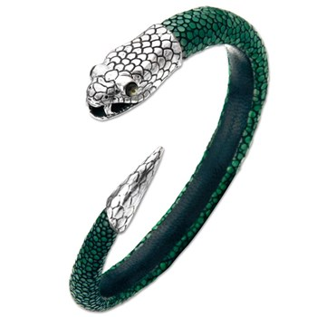 337032-Green Stingray Leather Snake Unisex Bracelet