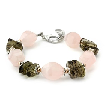 Rose & Smokey Quartz Bracelet-240-3309