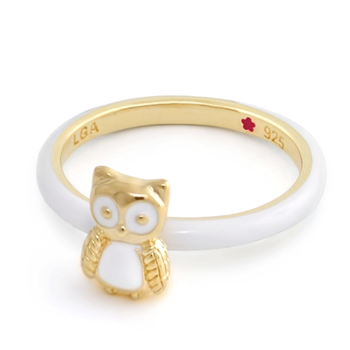 Yellow Gold 'Layers of Love' Owl Ring-342608