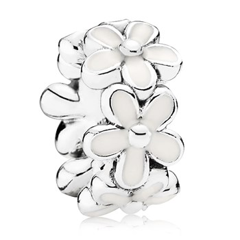 802-2857-PANDORA Darling Daisies with White Enamel Spacer