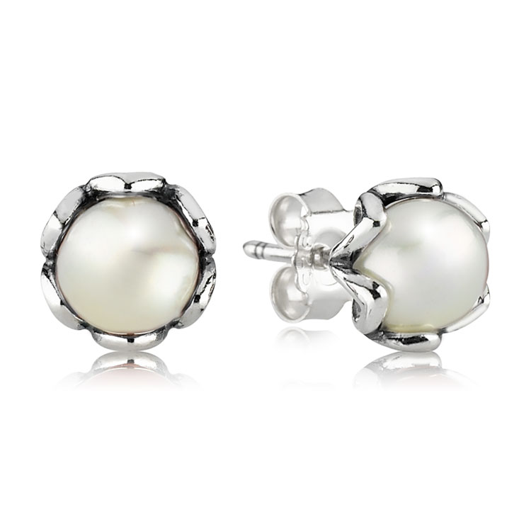 341718-PANDORA Cultured Elegance with White Pearl Stud Earrings
