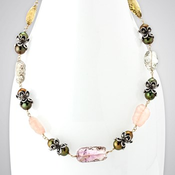 Abstract Cut Multi-Stone Necklace-343105