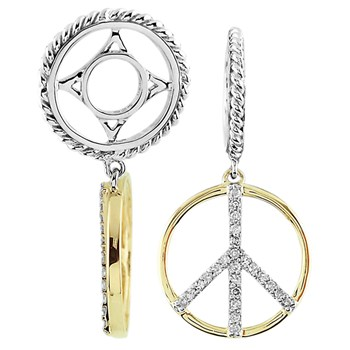 331661-Storywheels Diamond Peace Sign Dangle Sterling Silver/14K Gold Wheel
