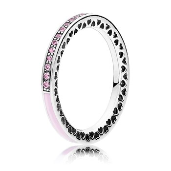 PANDORA Radiant Hearts of PANDORA with Light Pink Enamel & CZ Ring