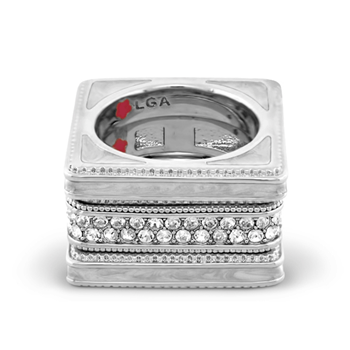 Rhodium 'Sea Diamonds' Ring Set-343766
