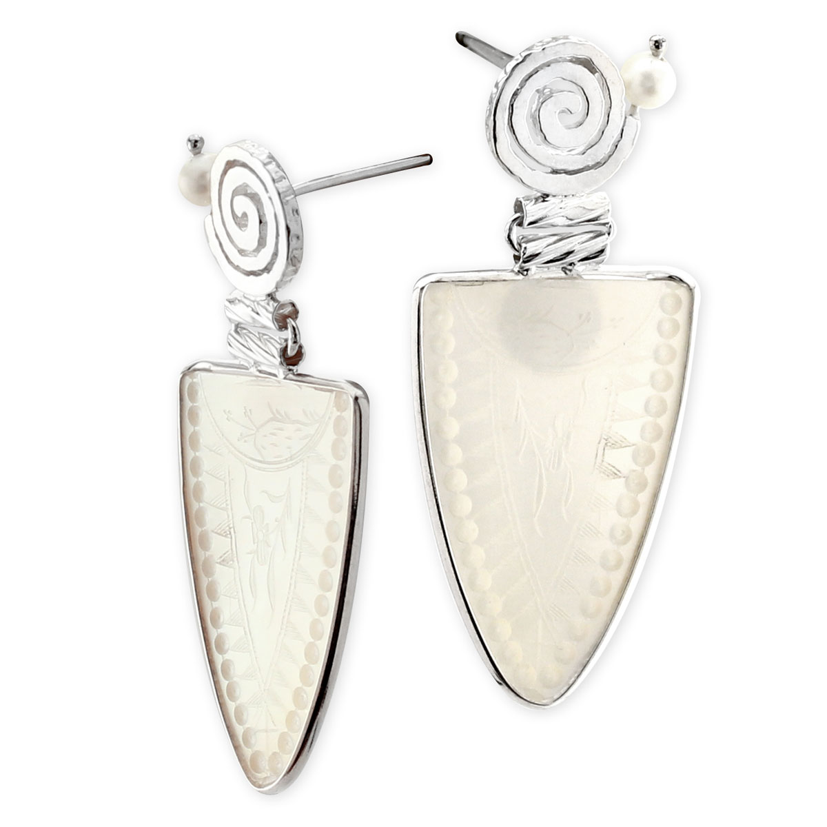 341788-Donna Chambers Teardrop Gambling Chip and Pearl Earrings