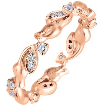 166442-Delicate Rose & Leaf Eternity Band