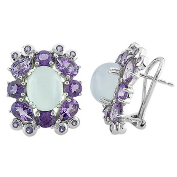 Chalcedony & Amethyst Leverback Earrings-341986