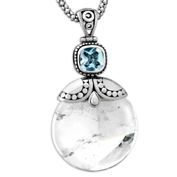 Clear Quartz & Blue Topaz Pendant-337061