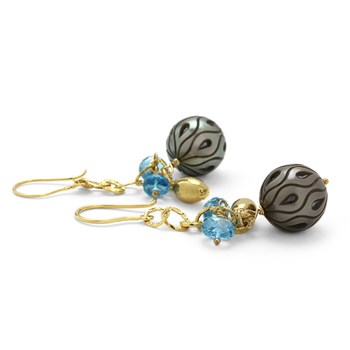 310-130-Tahitian Pearl & Blue Topaz Earrings