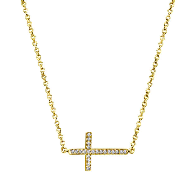 342424-Yellow Gold Plated Cross Necklace