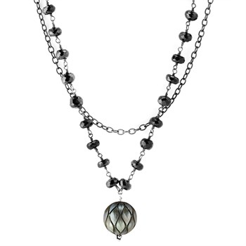 349306-Spinel & Black Pearl Necklace