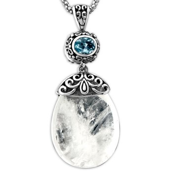 Clear Quartz & Blue Topaz Pendant-337060